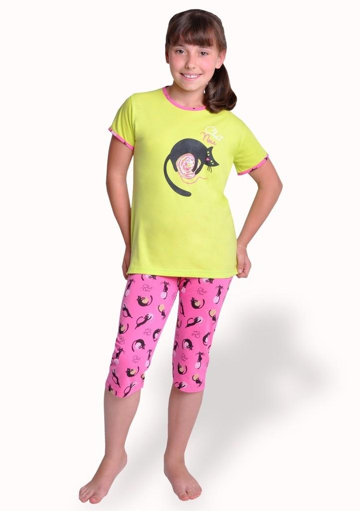 Dívčí pyžamo s obrázkem kočky a capri kalhotami