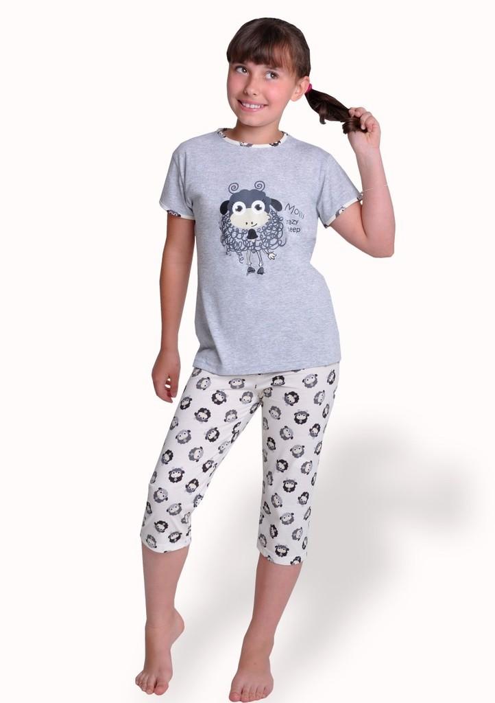 Dívčí pyžamo s obrázkem ovečky a capri kalhotami