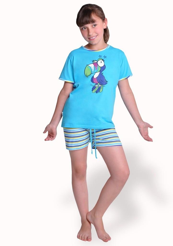 Dívčí pyžamo s obrázkem papouška a kraťasy