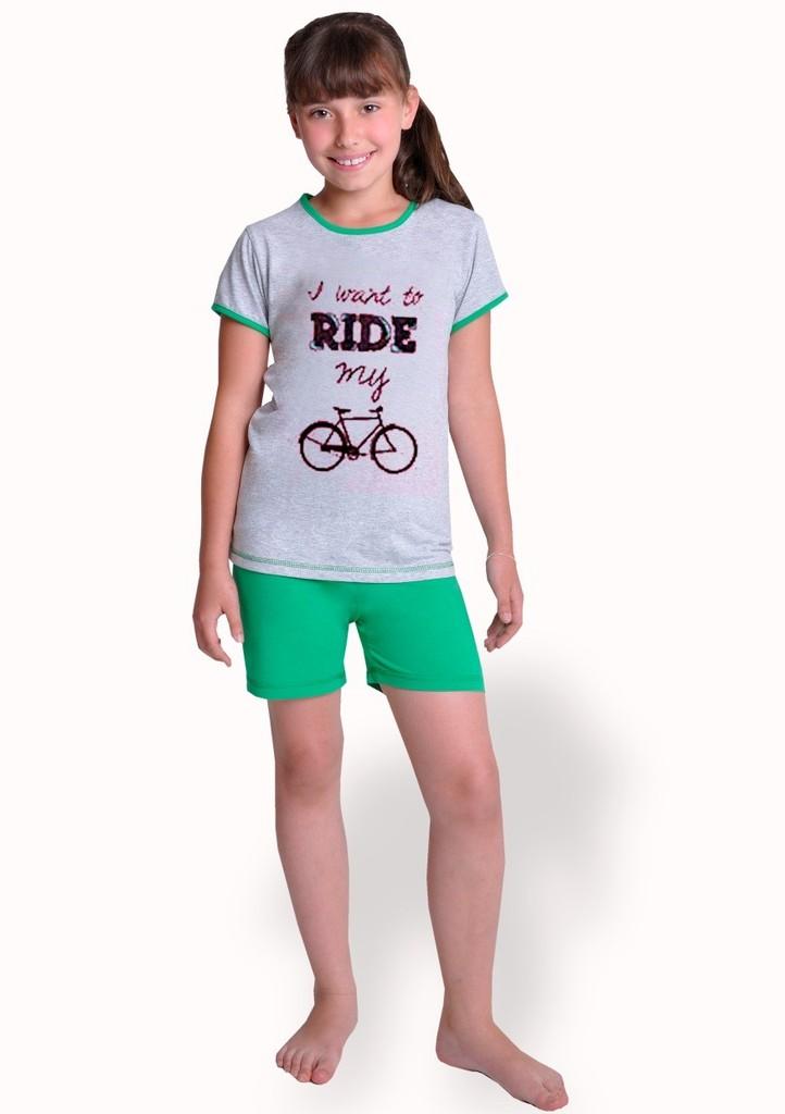 Dívčí pyžamo s nápisem I Want To Ride a kraťasy