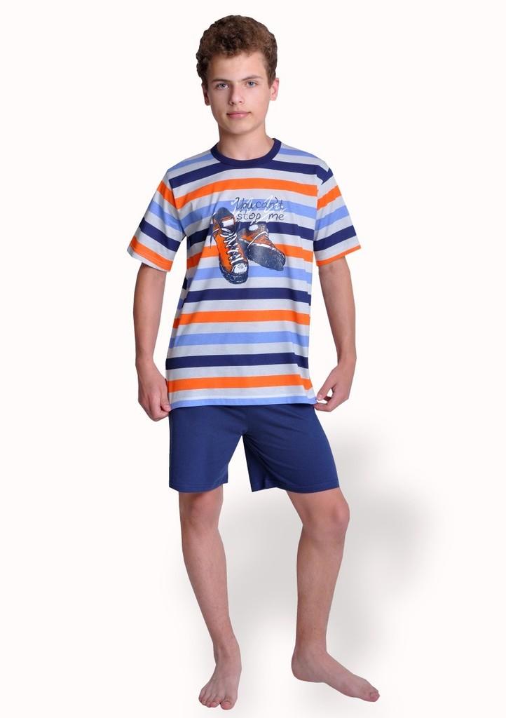 Chlapecké pyžamo s obrázkem tenisek a kraťasy