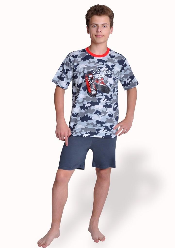 Chlapecké pyžamo s obrázkem bot a kraťasy