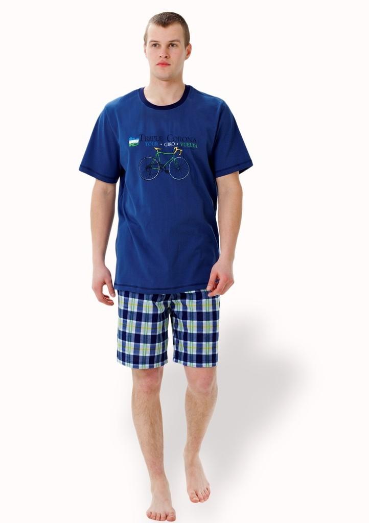 Pánské pyžamo s obrázkem jízdního kola a kraťasy