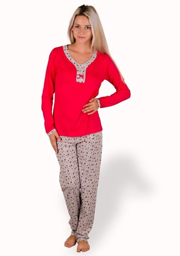 Dámské pyžamo s kalhotami se vzorem kvítků