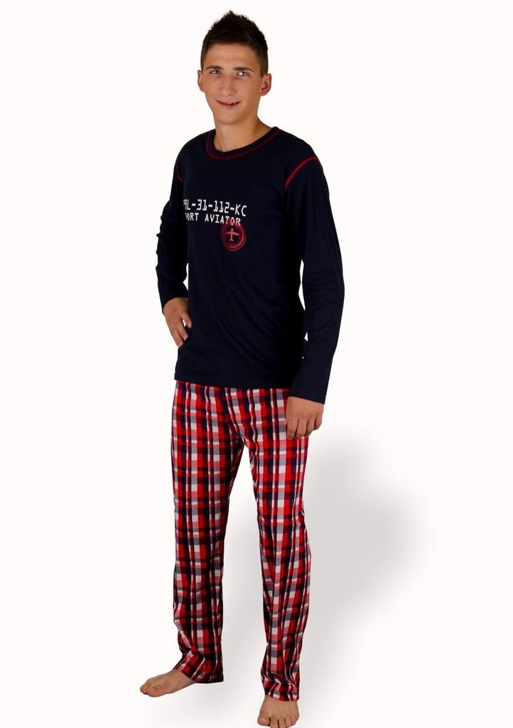 Pánské pyžamo s kalhotami se vzorem velké kostky