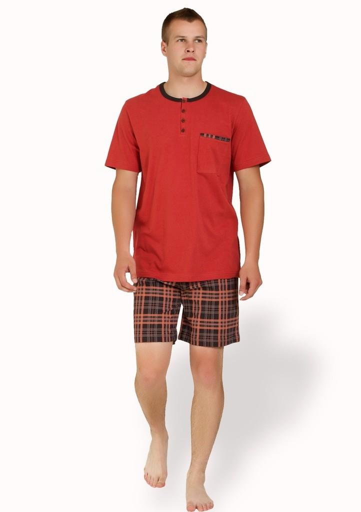 Pánské pyžamo s kraťasy se vzorem kostičky