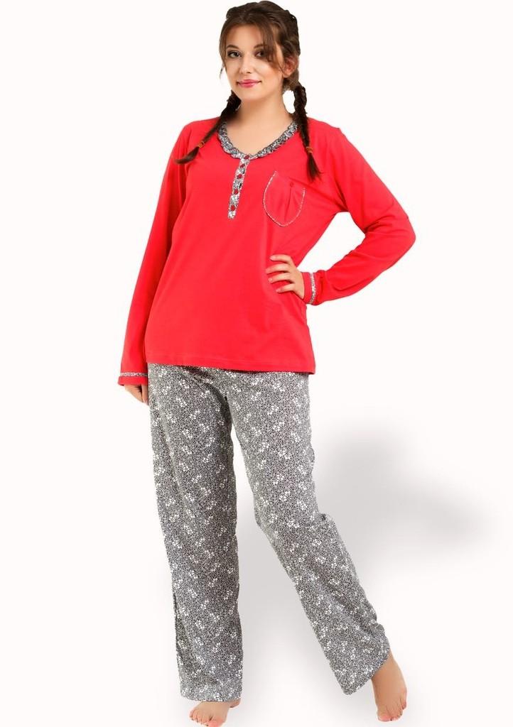 Dámské pyžamo s kalhotami se vzorem květin