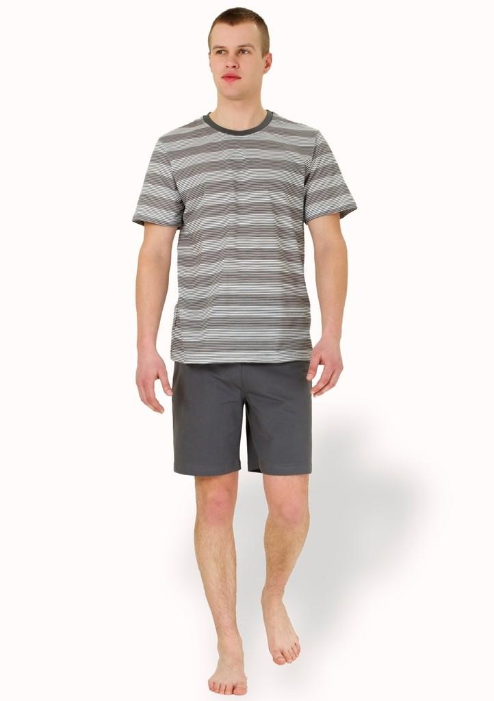Pánské pyžamo se vzorem barevného pruhu a kraťasy