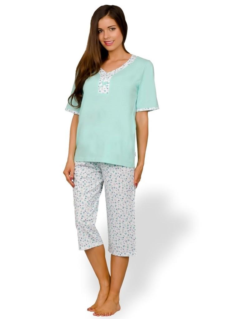 Dámské pyžamo s mašličkou a capri kalhotami