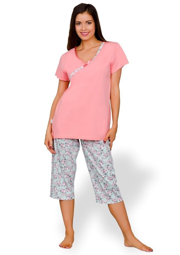 Dámské pyžamo capri se vzorem drobných květů