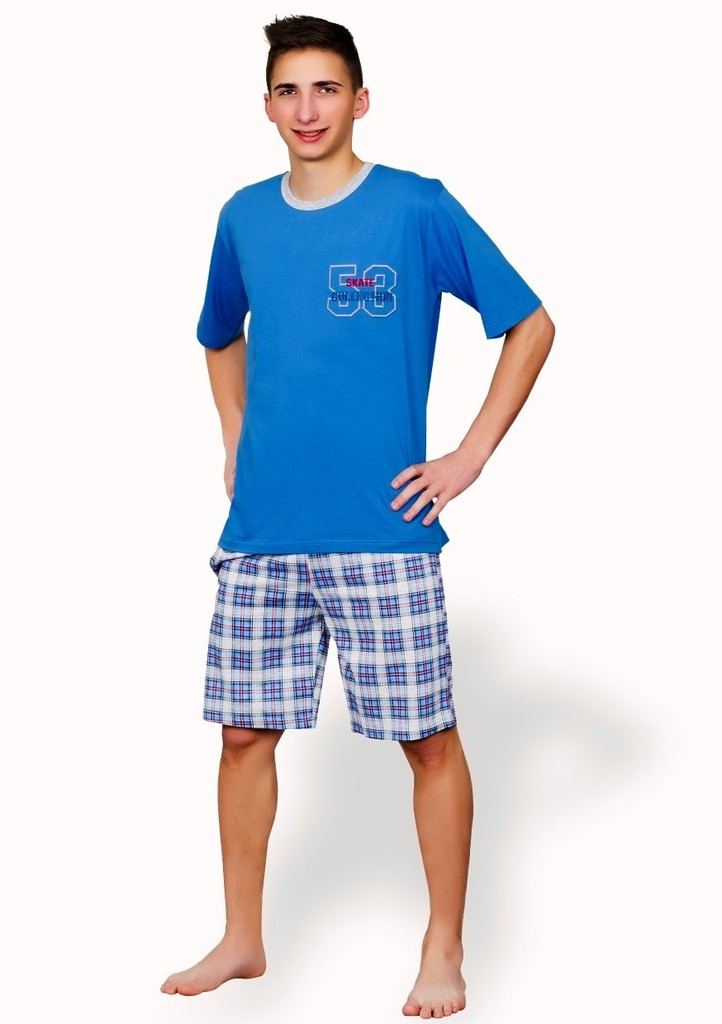 Pánské pyžamo s kraťasy se vzorem kostky