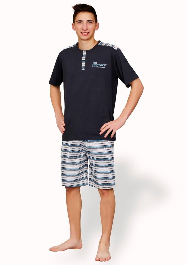 Pánské propínací pyžamo s nápisem contact a kraťasy
