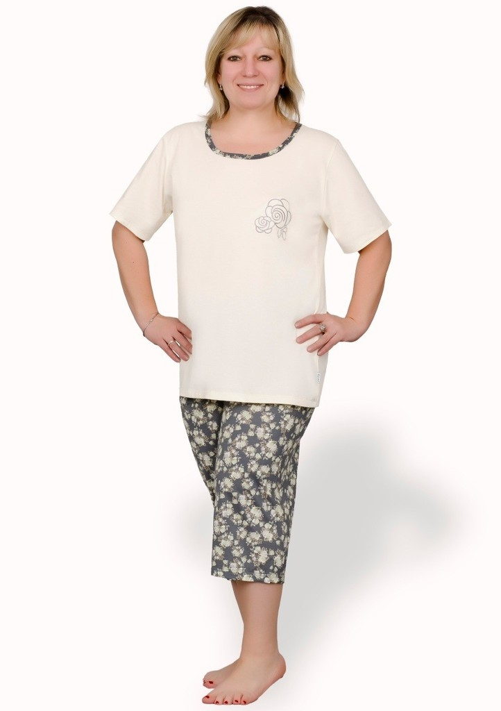 Dámské pyžamo nadměrné velikosti vzor růže