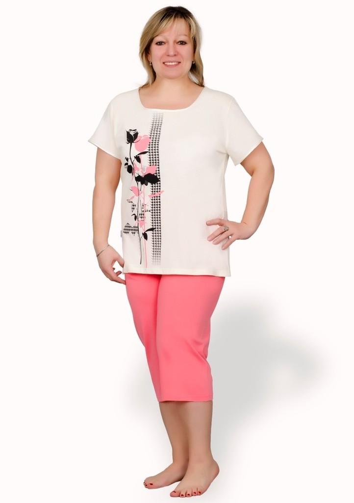Dámské pyžamo nadměrné velikosti s obrázkem růží