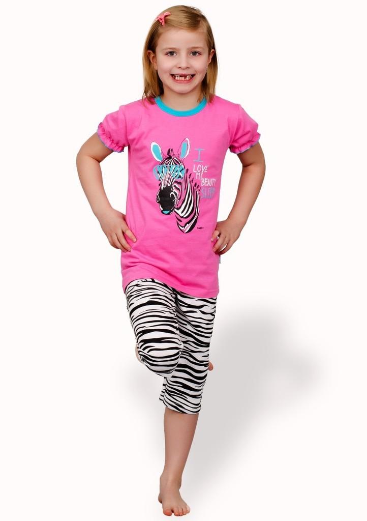 Dětské pyžamo s obrázkem zebry a capri kalhotami
