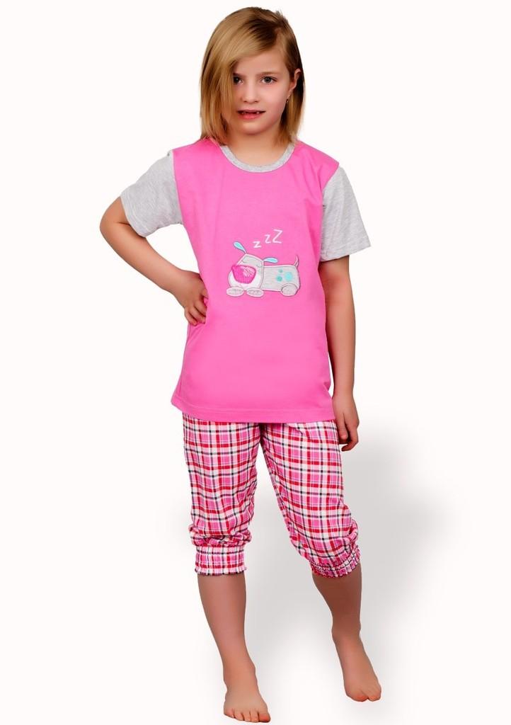 Dětské pyžamo s obrázkem pejska a capri kalhotami