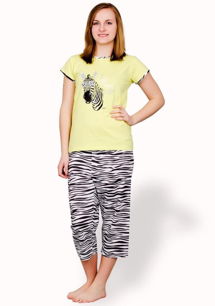 Dívčí pyžamo s obrázkem zebry a capri kalhotami
