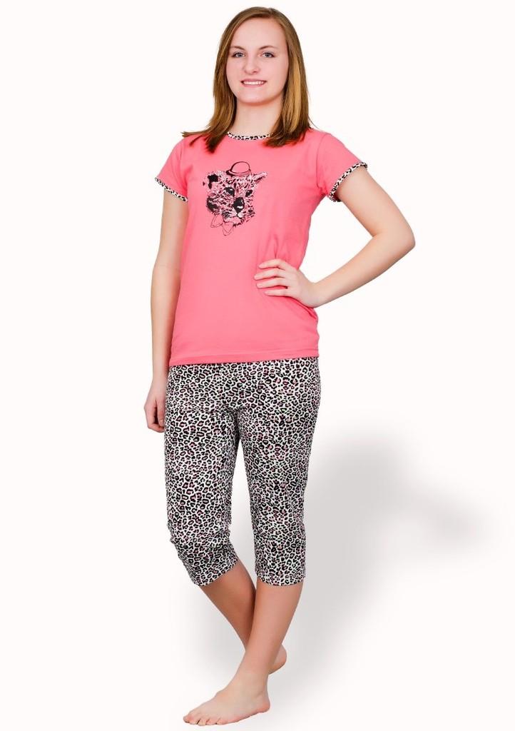 Dívčí pyžamo s obrázkem geparda a capri kalhotami