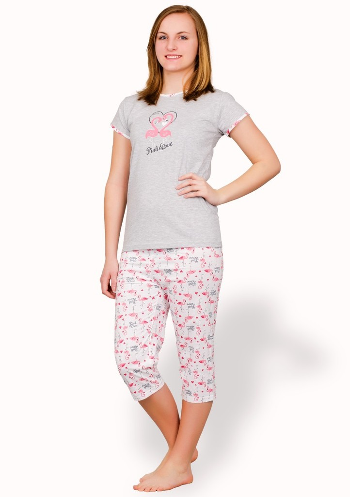 Dívčí pyžamo s obrázkem plameňáka a capri kalhotami
