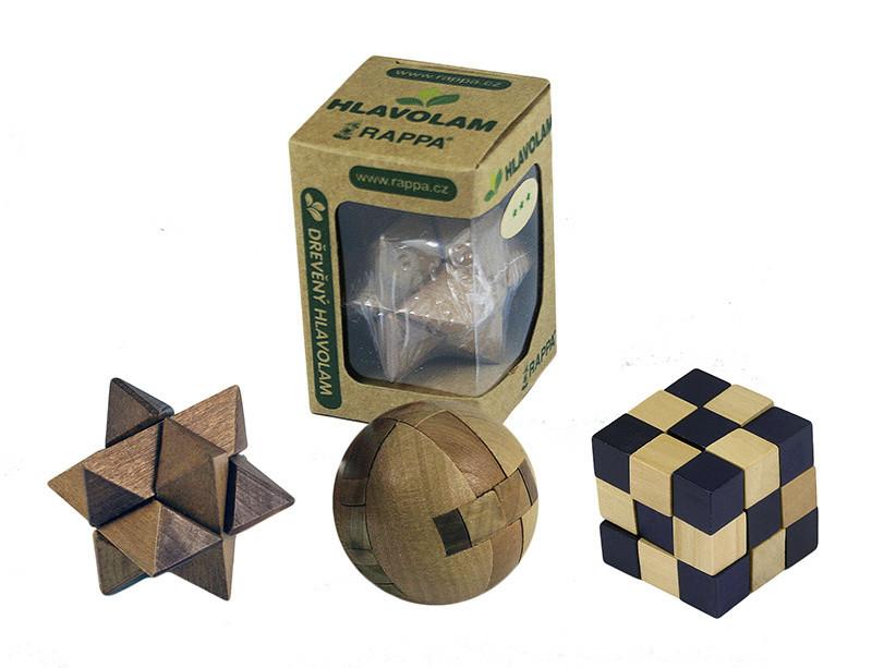 Hlavolam dřevěný mini, 8 druhů