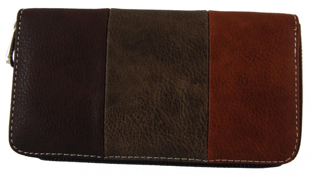 Praktická dámská zipová peněženka hnědá FD-005