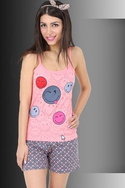 Bavlněné dámské pyžamo Smajlik