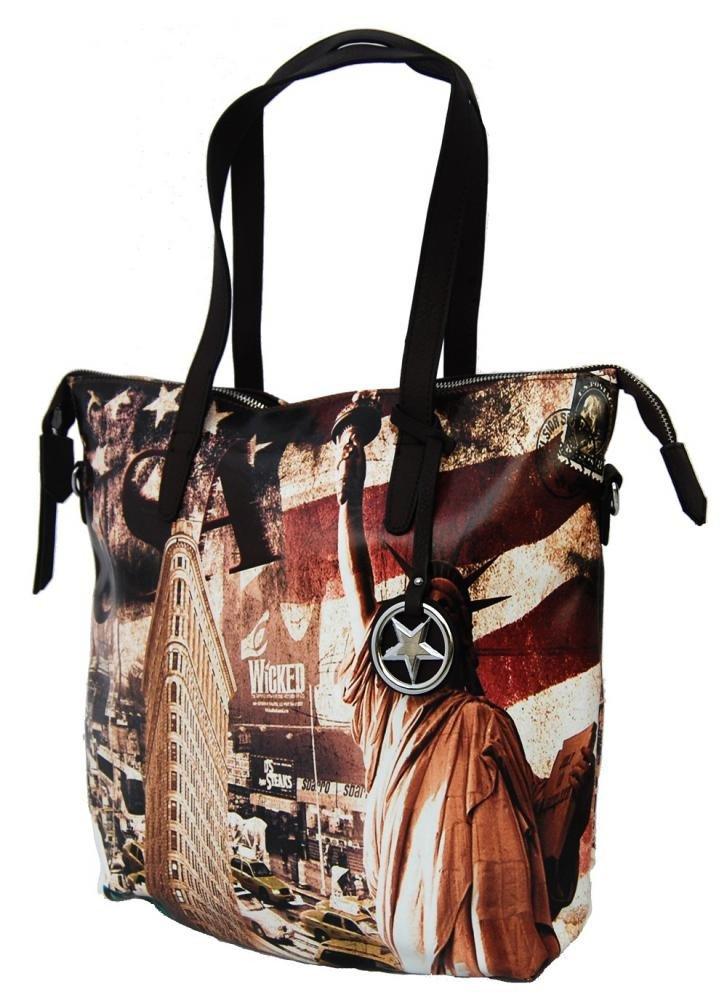 Stylová velká kabelka na rameno 404-BB kávová