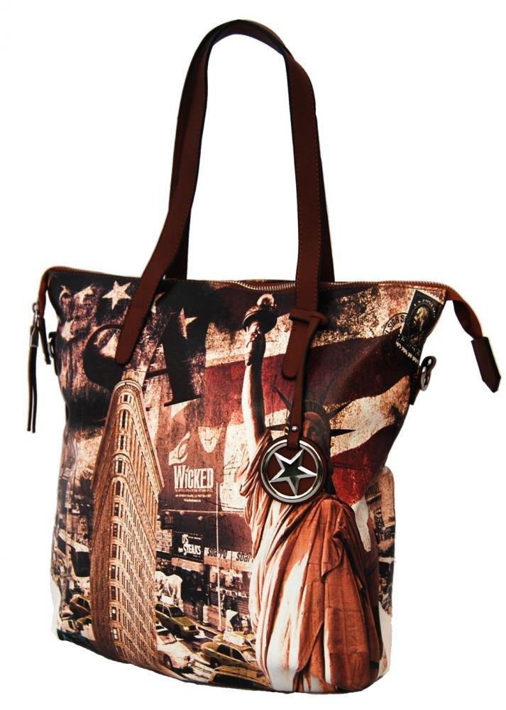 Stylová velká kabelka na rameno 404-BB hnědá