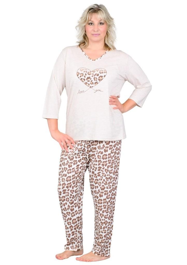 Dámské pyžamo nadměrné velikosti se vzorem levharta