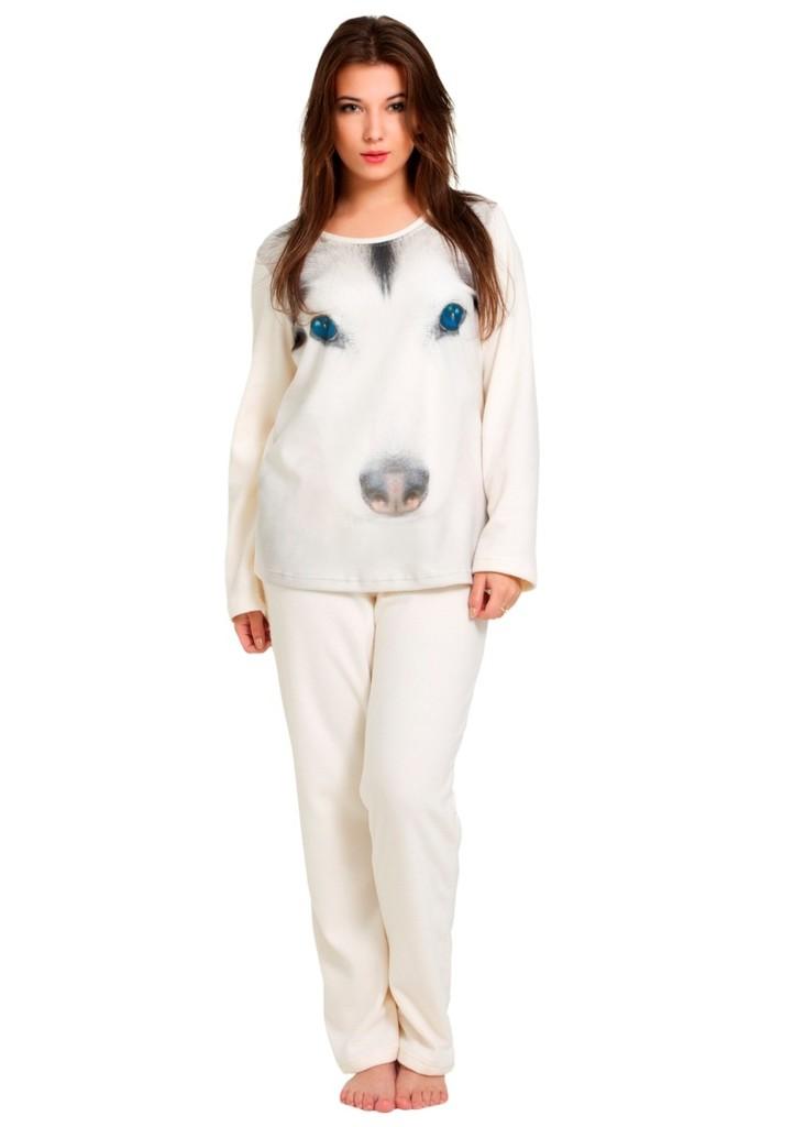 Dámské fleecové pyžamo s obrázkem huskyho