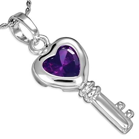 Přívěsek s řetízkem - Heart Key th-ccz406