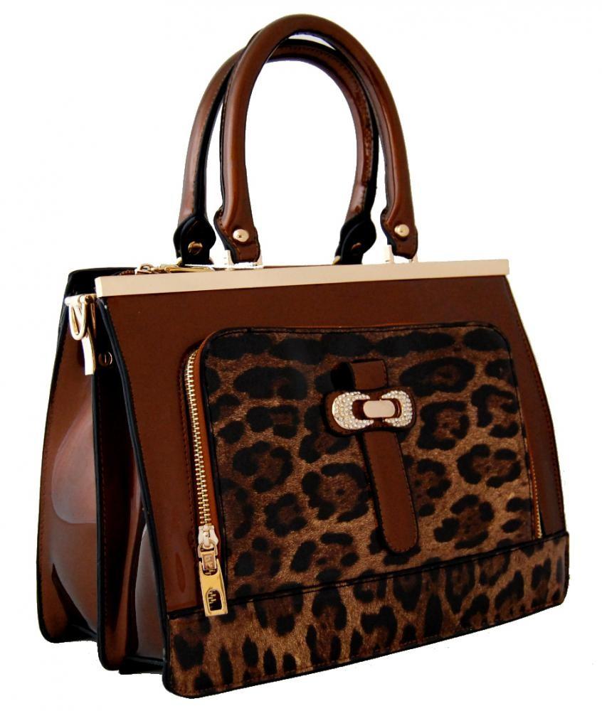 Elegantní lesklá hnědá kabelka do ruky fasco Berlin 2002-1032