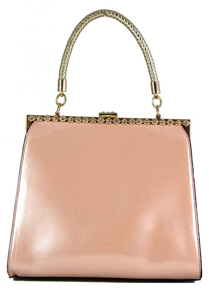 Růžová lakovaná kabelka do ruky fasco Berlin 8609-1