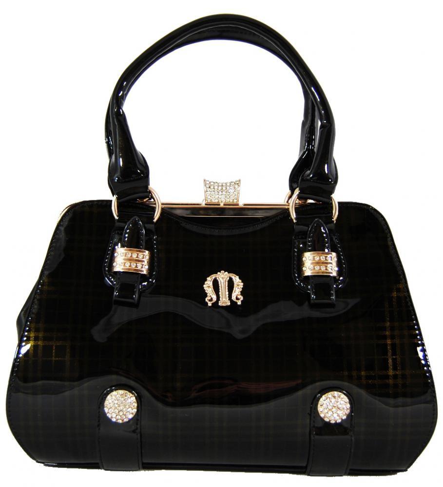 Luxusní lesklá černá kabelka do ruky fasco Berlin 89512
