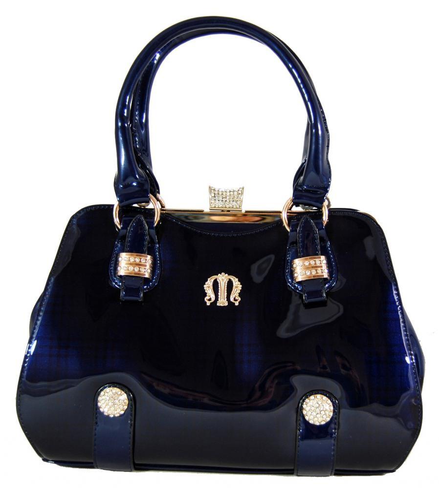 Luxusní lesklá modrá kabelka do ruky fasco Berlin 89512