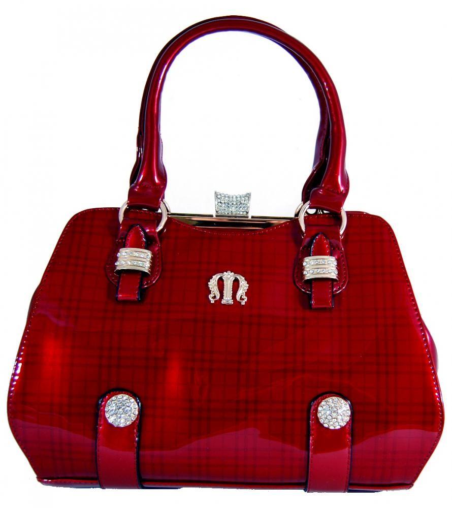 Luxusní lesklá červená kabelka do ruky fasco Berlin 89512