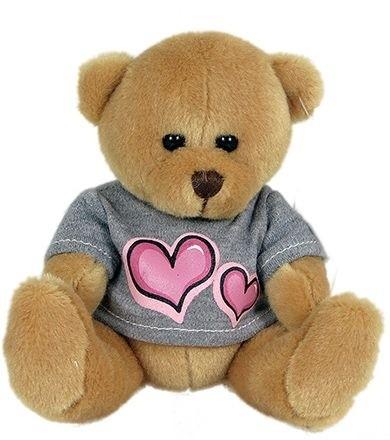 Plyšový medvěd v oblečku se srdcem 15 cm