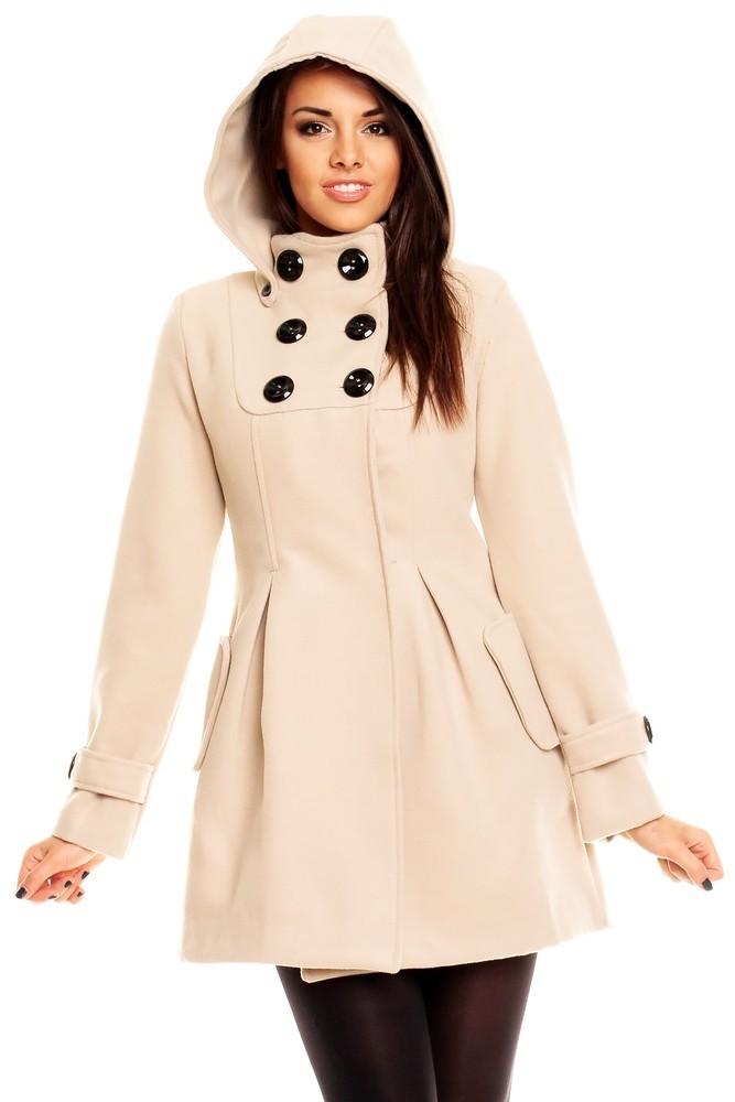 Kabát zimní dámský - béžový hs-bu098sm