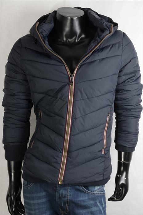Prošívaná pánská bunda - tmavě modrá p-bu010na