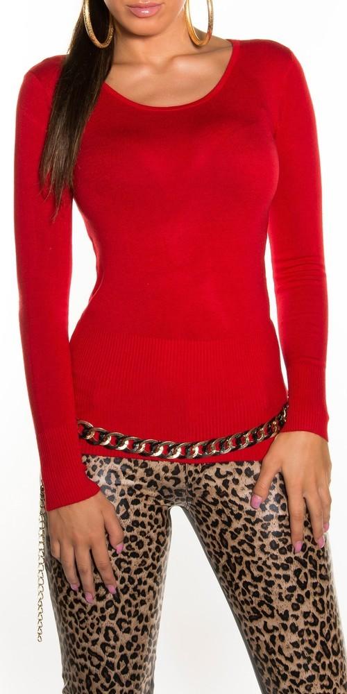 Elegantní svetr - červený in-sv081re
