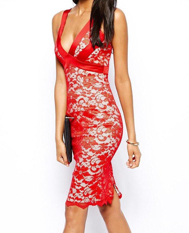Večerní červené šaty s krajkou d-sat356re
