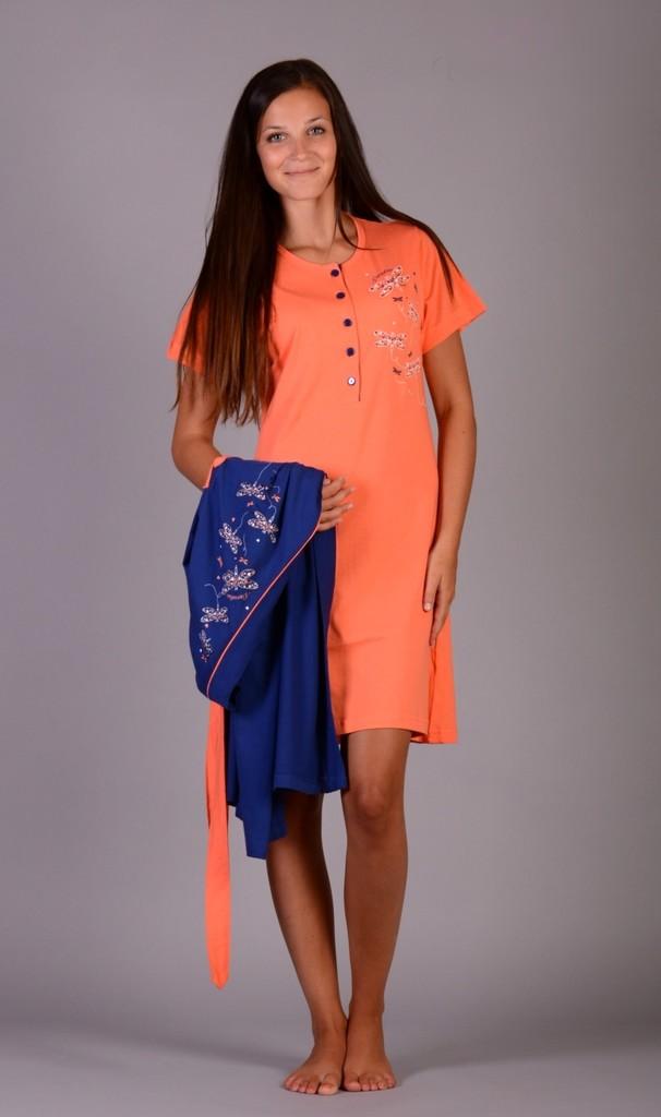 Bavlněný župan a noční košile Roxana oranžově modrý