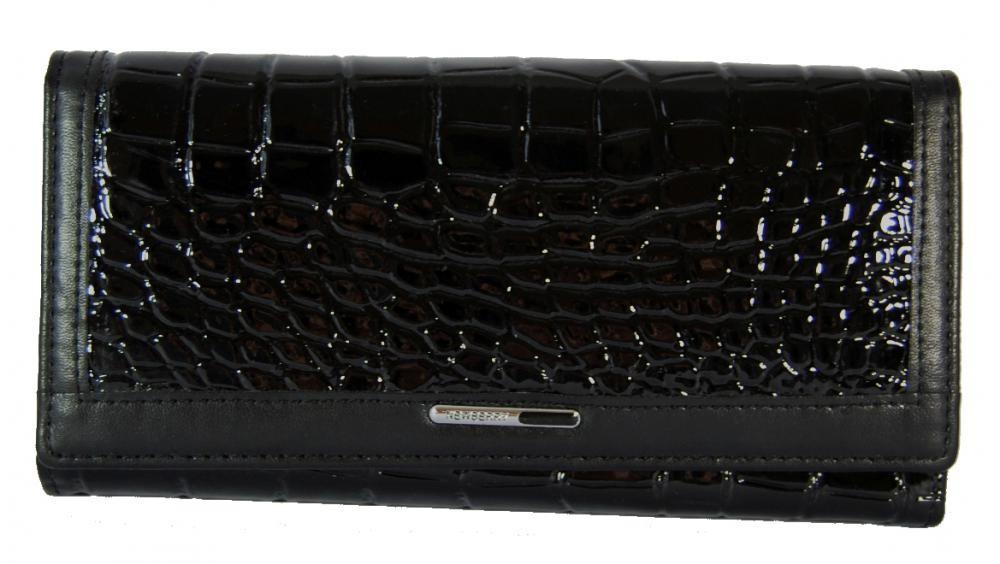 Dámská krokodýlí peněženka F03-5242 černý lak/mat