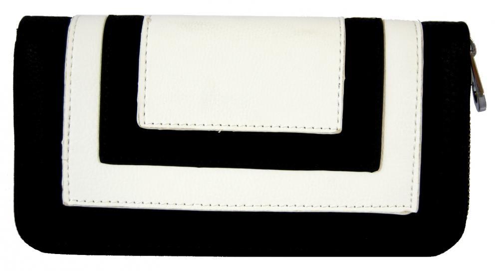 Praktická dámská zipová peněženka FD-020 bílo-černá