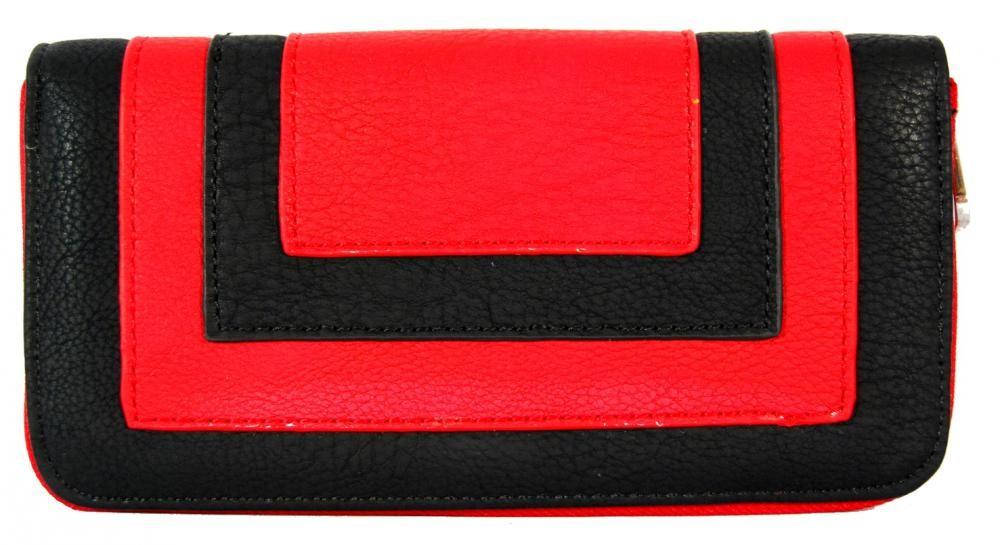 Praktická dámská zipová peněženka FD-020 červeno-černá