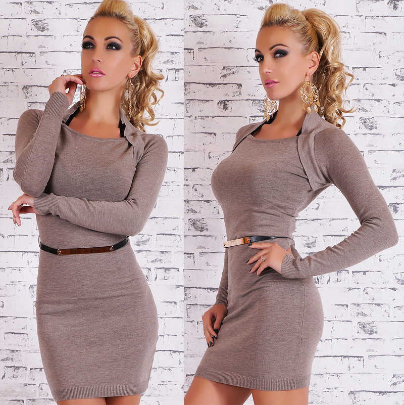 Úpletové šaty - hnědé st-sv034ca
