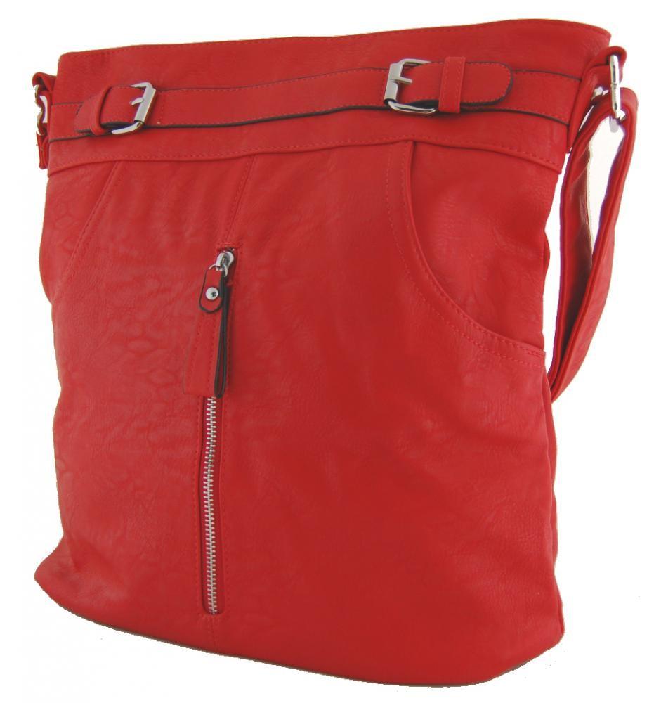 Crossbody kabelka s předními kapsami D1067 červená