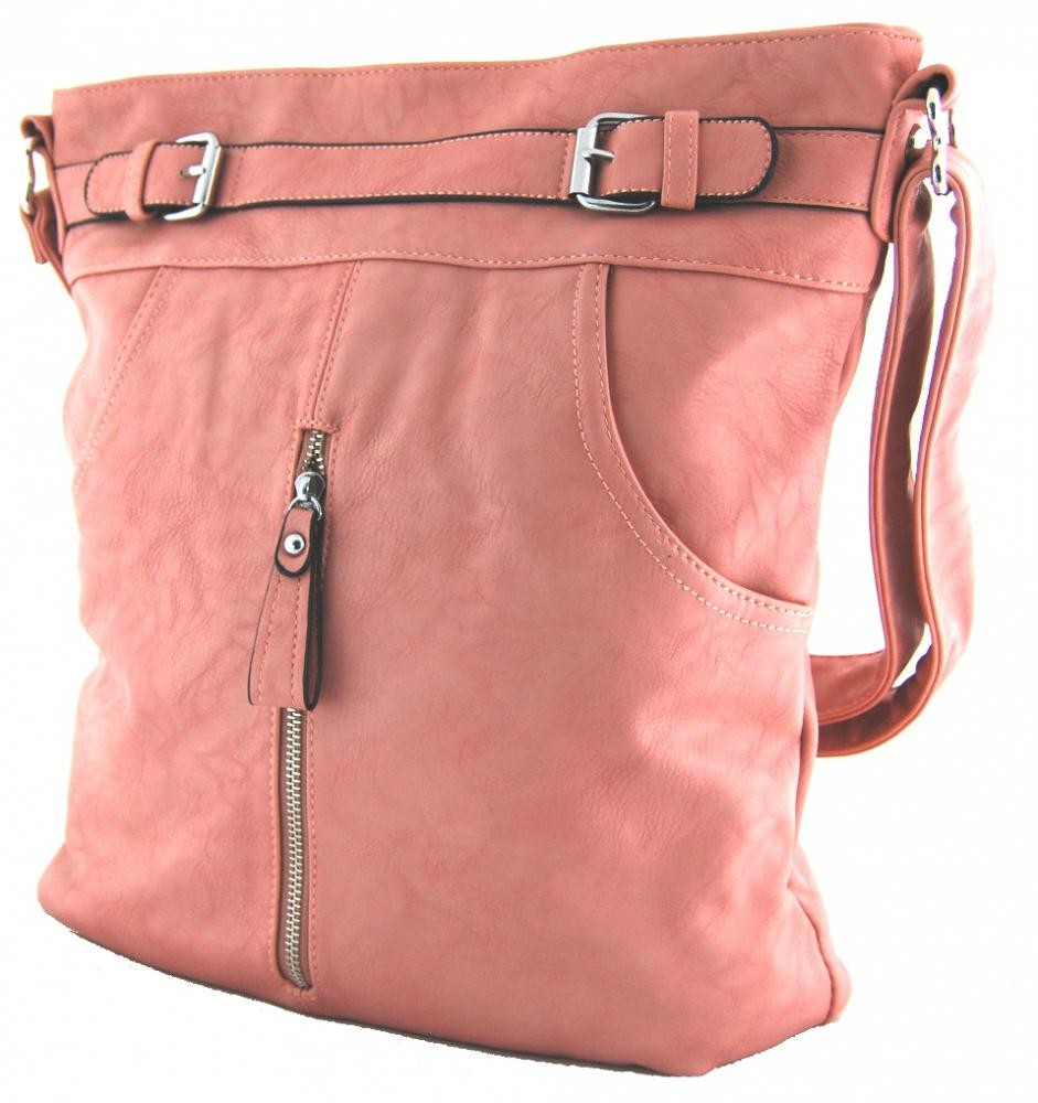 Crossbody kabelka s předními kapsami D1067 pastelová růžová