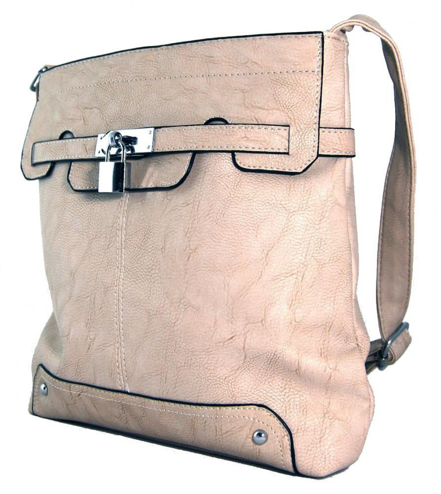 Crossbody kabelka se zámečkem S0708 béžová