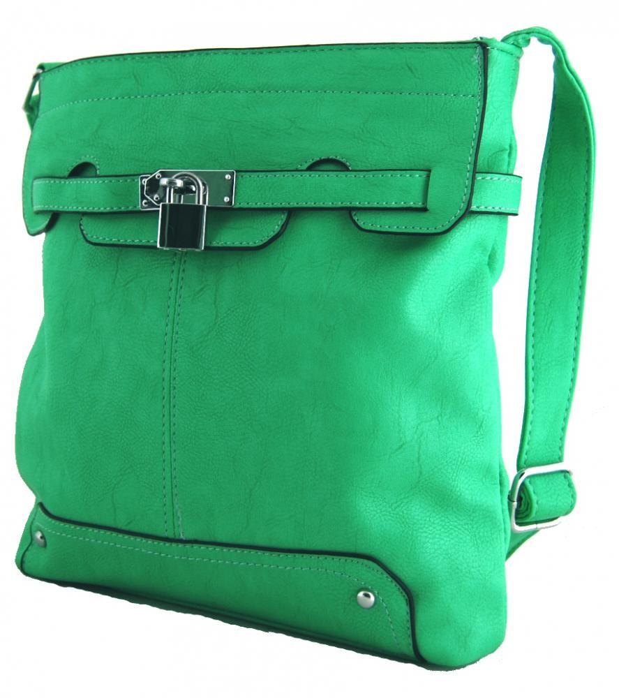 Crossbody kabelka se zámečkem S0708 zelená pastelová